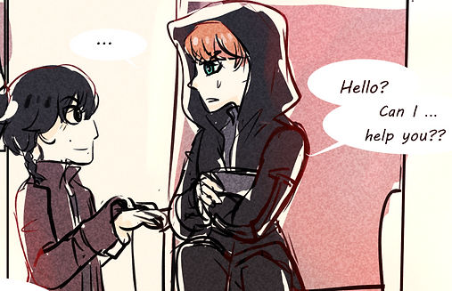 """An image from the In the Garden of the Sun comic. There are two boys, Ben and Armitage, shown facing each other in side profile. Ben is on the right and he is shorter than Armitage. He has short black hair save for one short side-braid, cut Padawan style. He wears a brown jacket. Armitage has short red hair and green eyes. He wears an black hooded robe and is seated. A speech bubble originating from him reads """"Hello? Can I... help you??"""""""