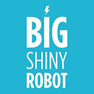The logo for Big Shiny Robot: the publication's name with a small lightning bolt graphic above it against a light blue background.