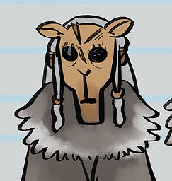 A headshot of Whisperer from Don't Wake The Night. She wears a deer mask and has long grey hair with two beaded strands at the front, one on either side of her face.