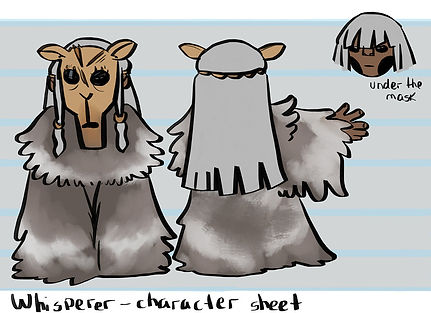 An image of Whisperer's character sheet from Don't Wake The Night. She is shown from the front, from the back, and without the mask. In her front-facing, full-body picture, she wears a deer mask and has long grey hair with two beaded strands at the front, one on either side of her face. She wears a long grey cloak that covers her whole body. From the back, her hair goes down to her waist. Where she is shown without her mask, she has brown skin and her grey hair is cut with a full fringe.