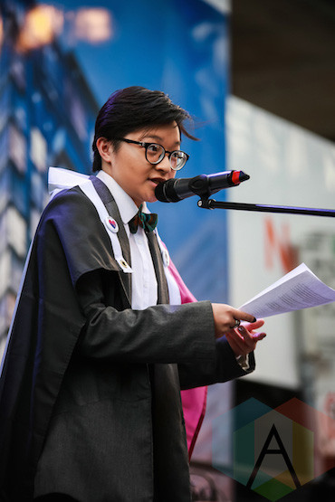 I was the first-ever asexual speaker at the Toronto Trans Pride March & Rally. Photo via Aesthetic Magazine.