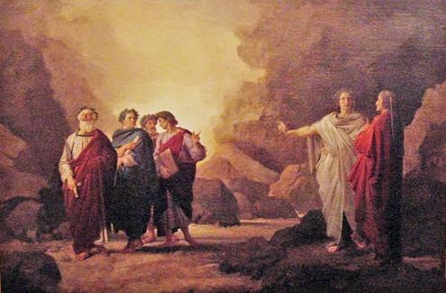 Dante writes about himself meeting his favourite poets: Homer, Horace, Ovid, and Lucan, in the Divine Comedy. Artist Nicola Consoni painted this image around 1850. Image via Atlantis Scout.