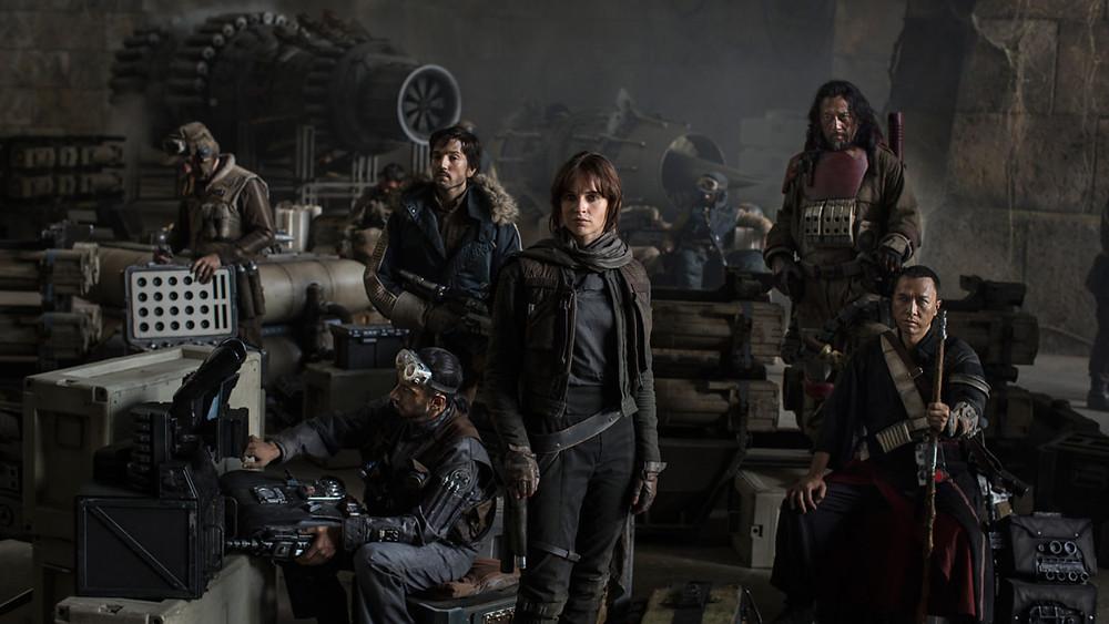 The heroic cast of Rogue One, left to right: Bodhi Rook (Riz Ahmed, Cassian Andor (Diego Luna), Jyn Erso (Felicity Jones), Baze Malbus (Jiang Wen), and Chirrut Îmwe (Donnie Yen). Image via StarWars.com.