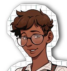 An headshot of Cal from The Office Type. They short brown hair, large glasses, brown eyes and brown skin. They are smiling timidly in 3/4 profile.