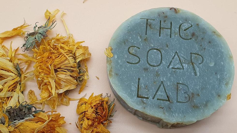 savon bio calendula & pétales de calendula, à l'argile bleue