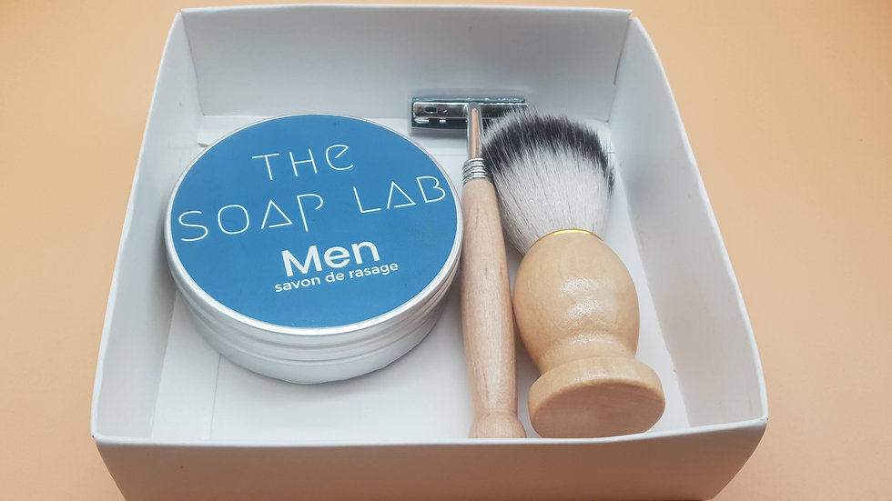Coffret savon à barbe + blaireau + rasoir bois