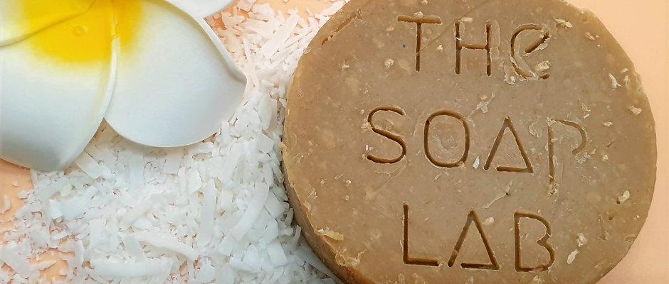 Savon bio monoï & lait de coco, à la carotte, coco et argile blanche.