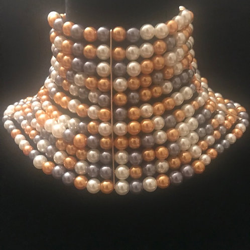 African Pearl in Pewter & Peach