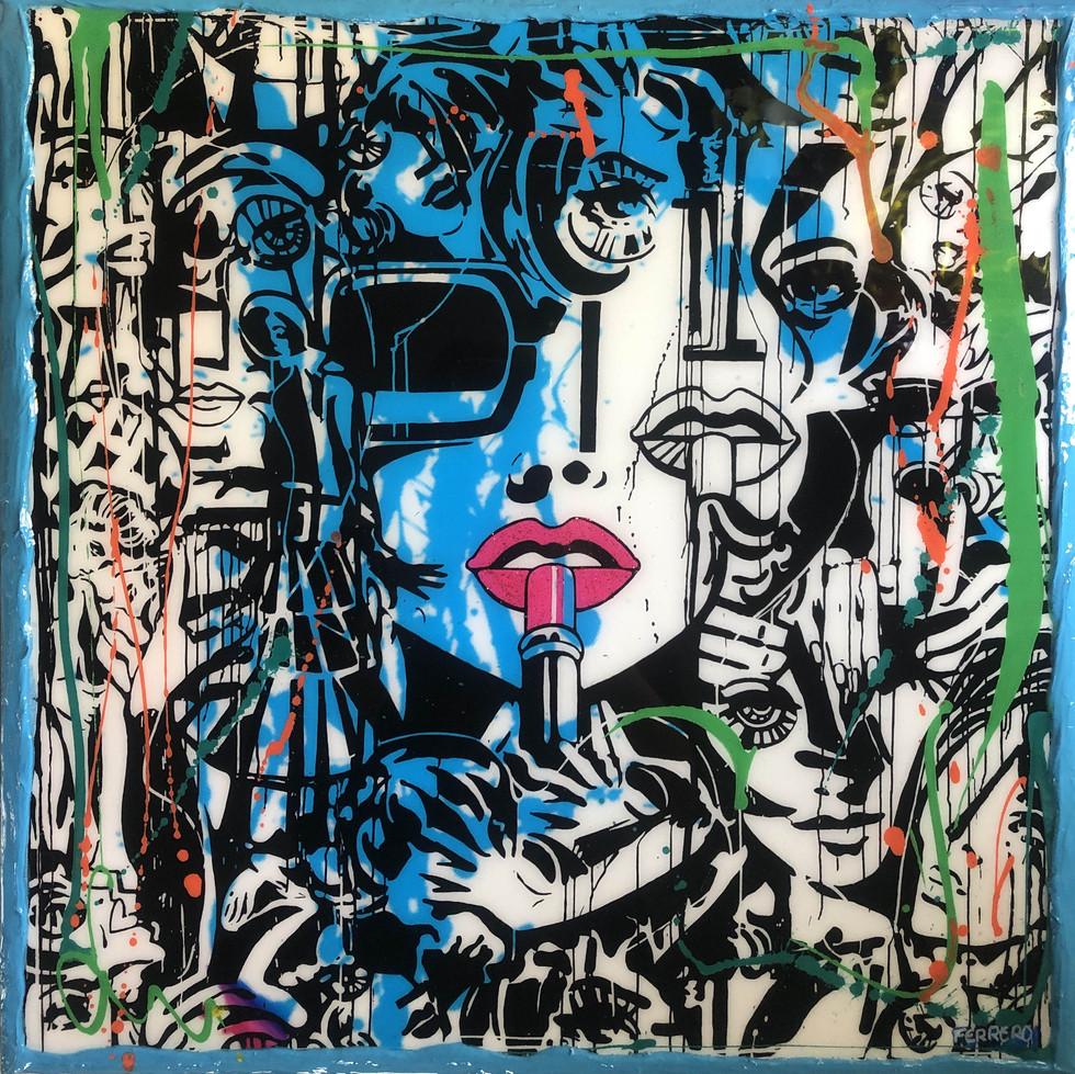 Lipstick variation abstract blue