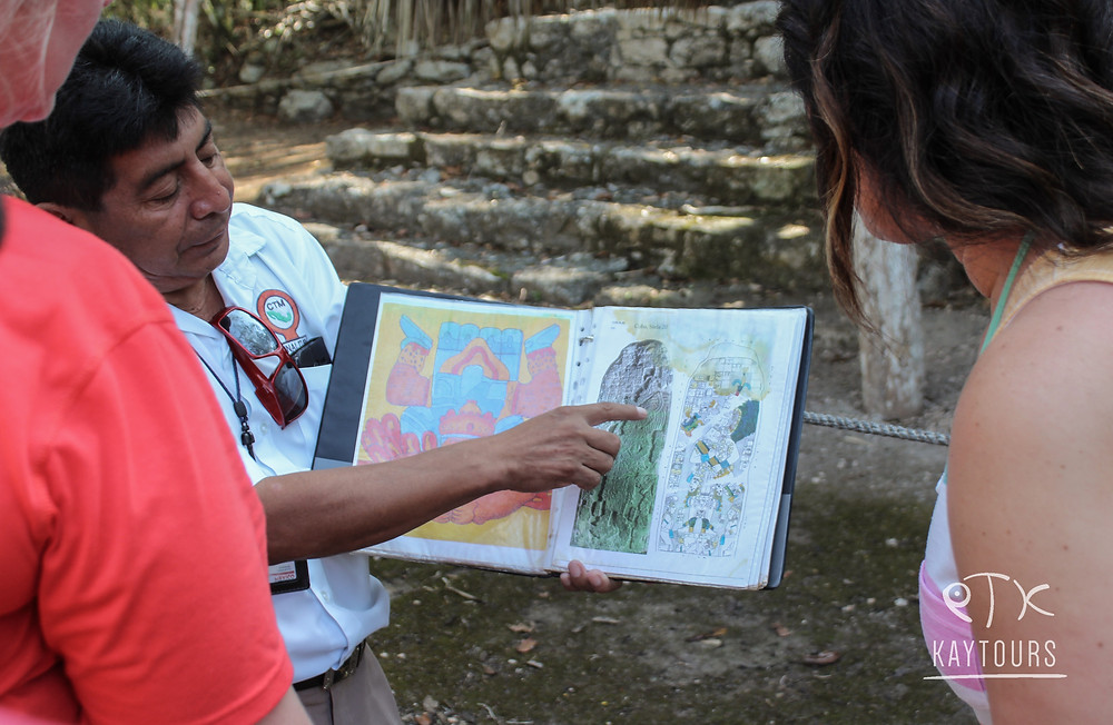 a maya archeological guide at Coba ruins in Mexico