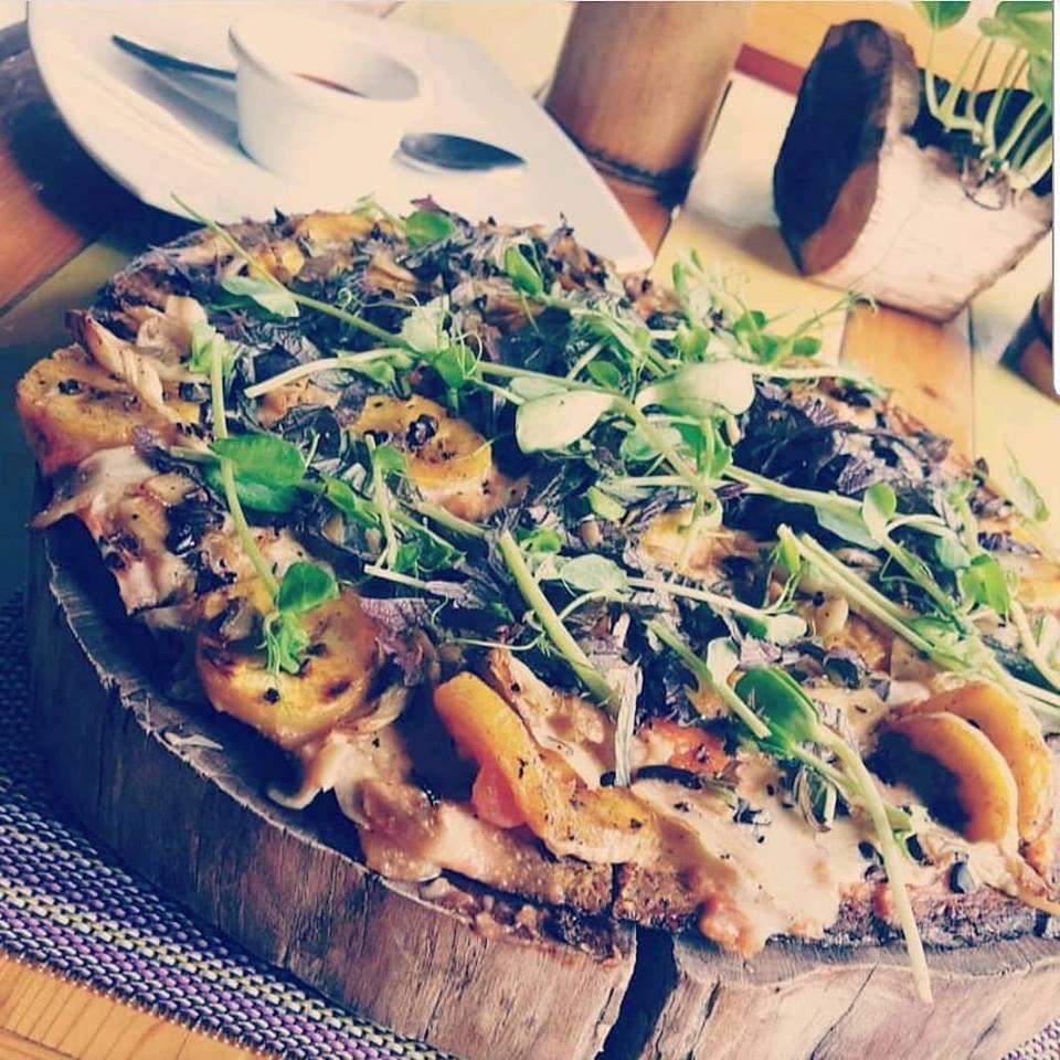 Home made gluten free pizza vegetarian Playa del Carmen