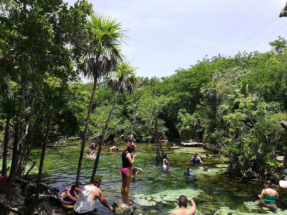 Cenote Cristalino on a Sunday