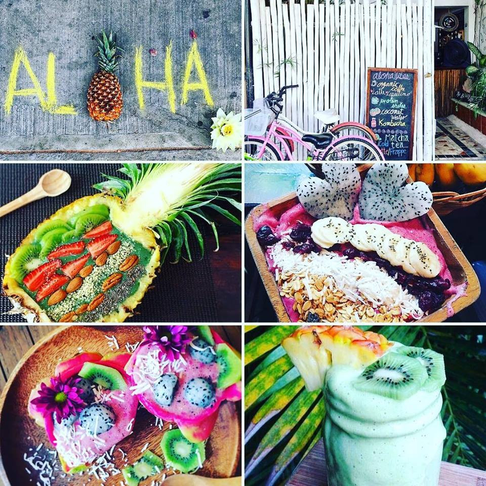 Food and drinks served at Aloha vegan playa del carmen