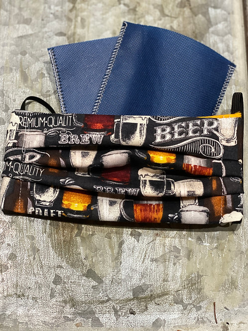 Mens Craft BEER cloth masks with filters, nose wire, FAST SHIP