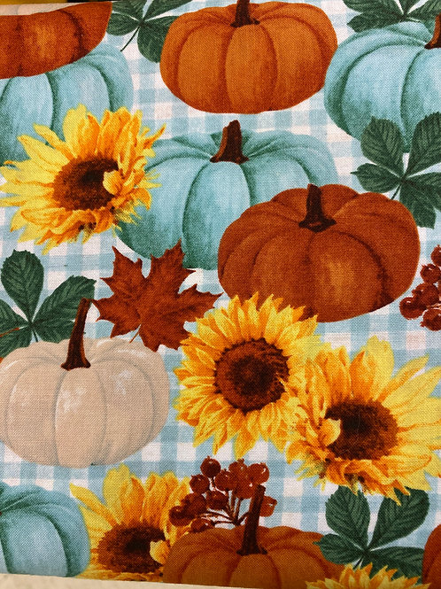 Teal Pumpkins and sunflowers reusable cloth mask, face covering, school mask