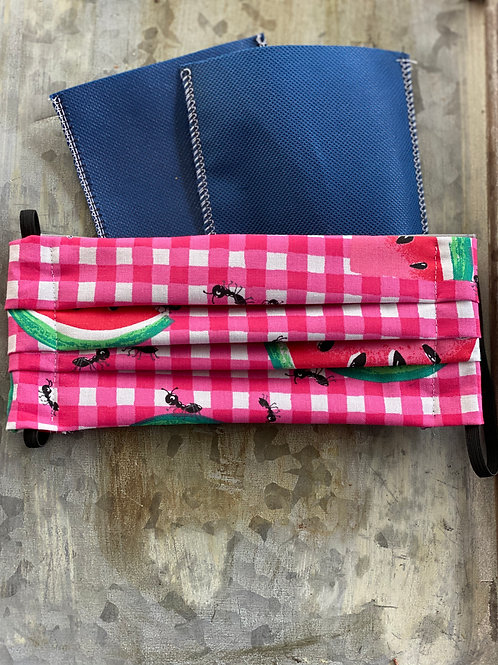 Ready Made Watermelon Picnic reusable cloth mask with filters, nose wire
