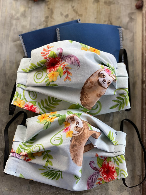 Floral Sloths cloth masks with filters, nose wir
