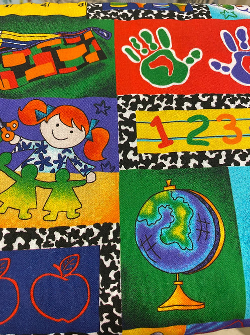 Back to school patchwork reusable cloth mask, face covering, school masks