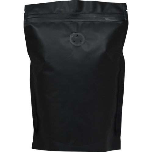 25 250g Matt Black Stand Up Pouch with Zip and Valve