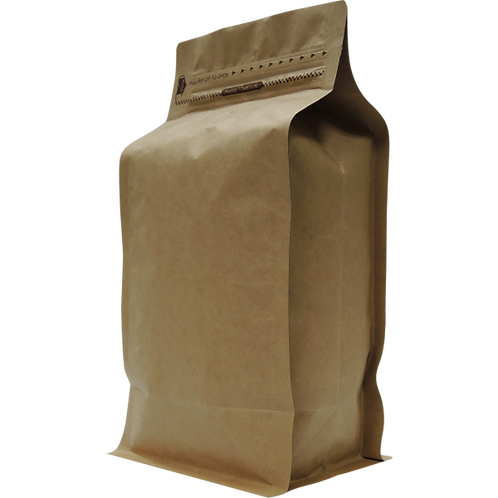 25 500g Natural Kraft Box Bottom Bags with Rip, Zip and Valve