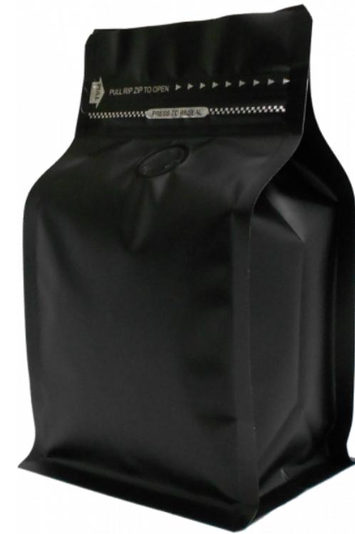 25 1kg Matt Black Box Bottom Bags with Rip, Zip and Valve