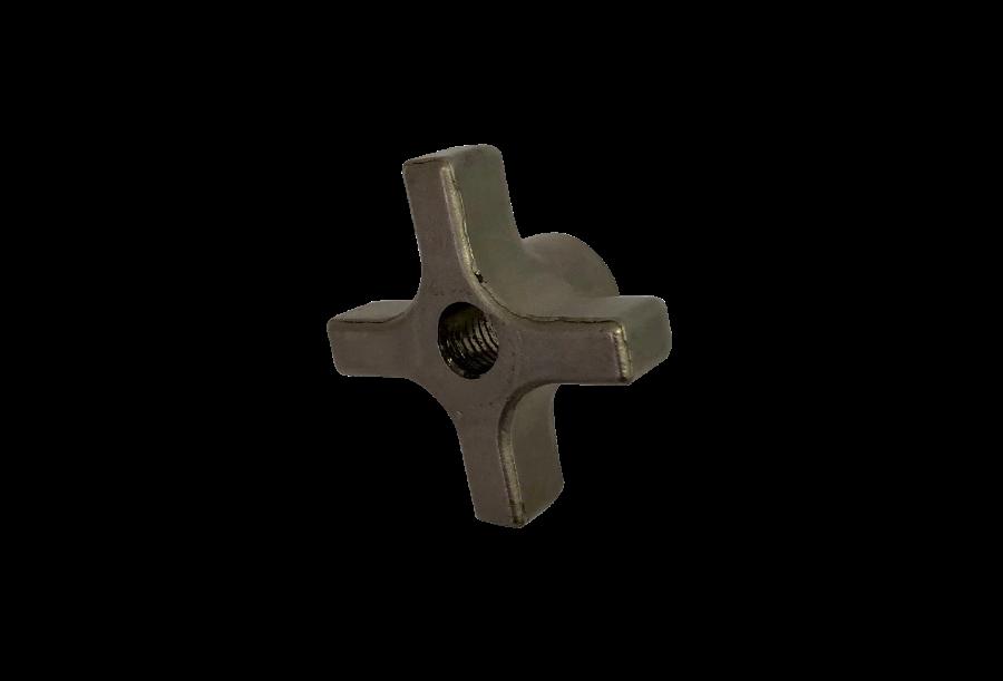 "Steel Fast-Lock Four-Arm Knob 3/8""-16 Threaded Thru Hole, 2"" Diameter"