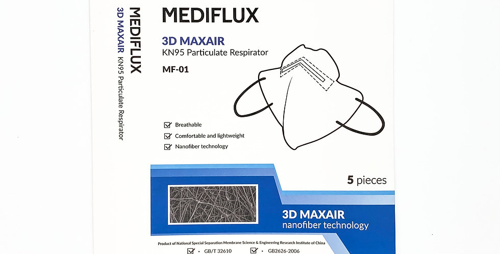 Mediflux KN95 Particulate Respirator MF-01 (5 Pack, unfolded box))