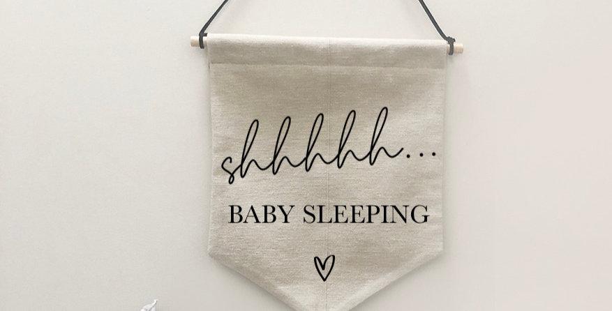 'shhh... baby sleeping' banner