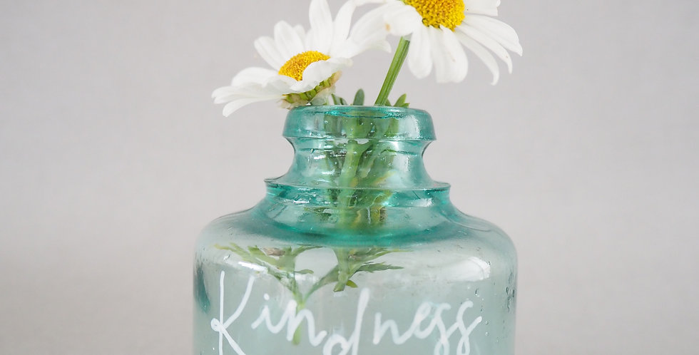 Hand painted vintage glass bottle