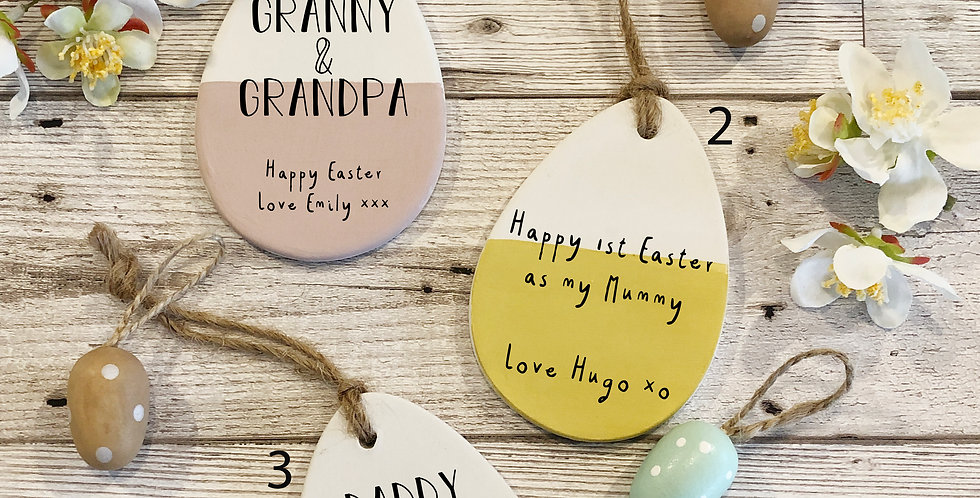Personalised message ceramic easter egg decorations