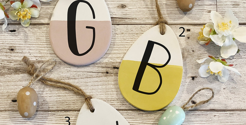 Personalised Initial ceramic easter egg decorations
