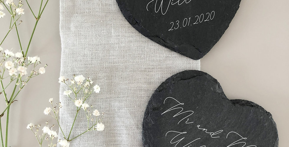 'Mr and Mrs' personalised coasters