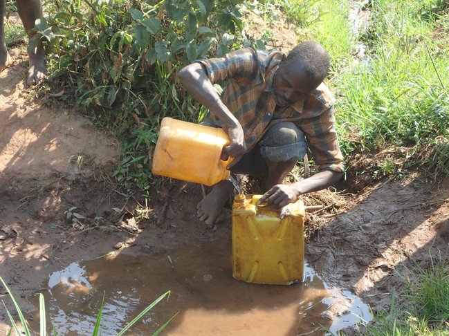 Clean water is difficult to find in Gahungu