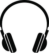 Clipart image of headphones to listen to audio services