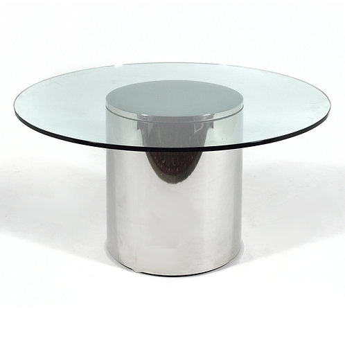 Stainless Steel Drum Table with Glass Top