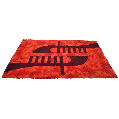 Rya Rug in Red with Bold Graphics