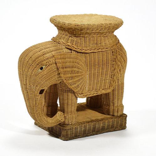 Wicker Elephant Side Table