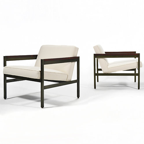 Michael Taylor Lounge Chairs with Bronze Frames by Baker