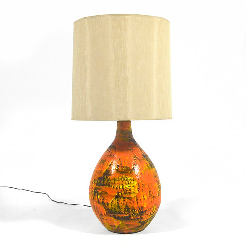 Large Ceramic Table Lamp in the Manner of Fantoni
