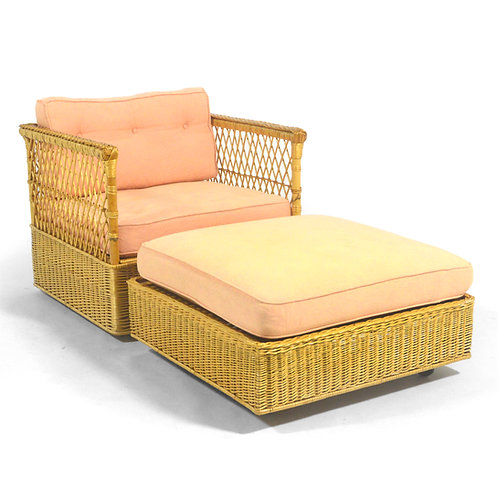 Davis Allen Square Chair & Ottoman by McGuire