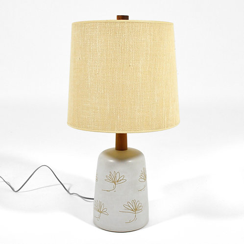 Martz Table Lamp with Floral Sgraffito Decoration
