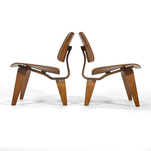 Eames Rare Matched Pair of Walnut LCW Lounge Chairs