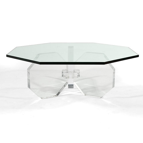 Lucite Octagonal Form Coffee Table