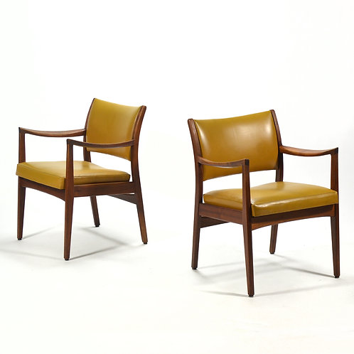 Pair of Walnut Armchairs by Johnson Chair Co.