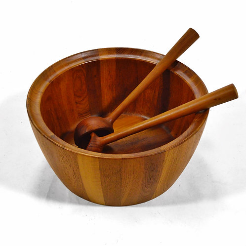 Oversize Staved Teak Bowl & Servers by Richard Nissen