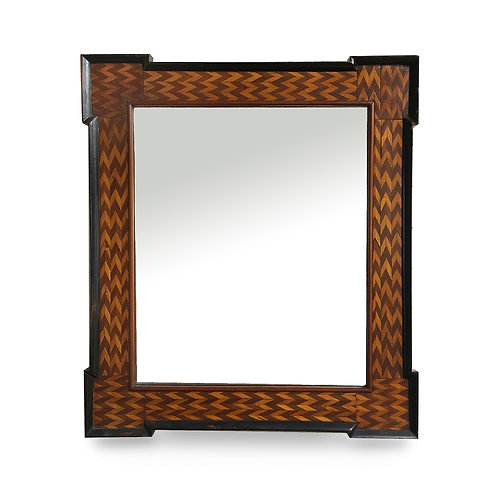 Folk Art/ Tramp Art Frame with Mirror