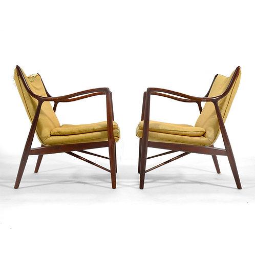 Pair of Finn Juhl #45 Chairs by Baker