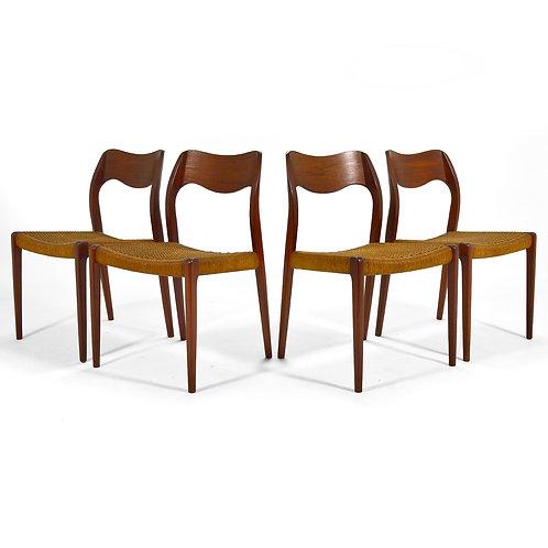 Niels O. Møller Dining Chairs Model 71 by J.L. Møllers Møbelfabrik