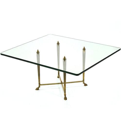 Italian Coffee Table with Brass Hoof Base