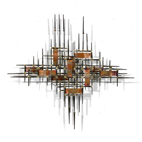 Abstract Wall Sculpture in Iron, Bronze & Copper